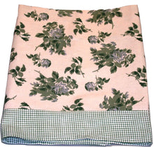 Floral Green Gingham Check Border Valance