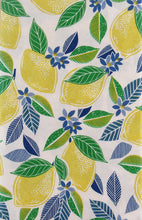 Flowering Lemons Abstract Collage Vinyl Flannel Back Tablecloth 52 inch Square