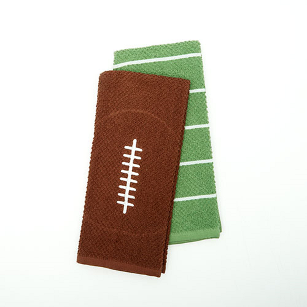 Football and Yard Lines Set of 2 Kitchen Towels
