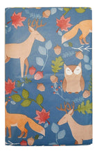 Forest Woodland Animals Vinyl Tablecloth Nuts and Leaves Autumn Blue Various Sizes