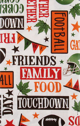 Friends Family Food Football Fall Vinyl Flannel Back Tablecloth Assorted Sizes