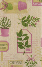 Garden Herbs vinyl flannel back tablecloth Pink Green Beige 52 x 70 Oblong