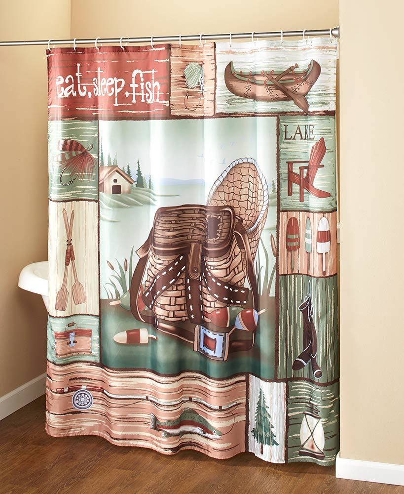 Gone Fishing Fabric Shower Curtain with Hooks Fishermen Lodge Cabin