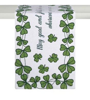 Good Faithful Friends Shamrocks Tapestry Table Runner St Patricks Day Irish