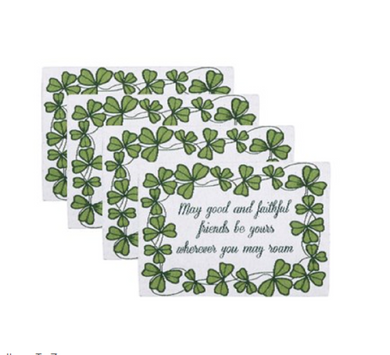 Good Faithful Friends Shamrocks Tapestry Placemats Set 4 St Patricks Day Irish