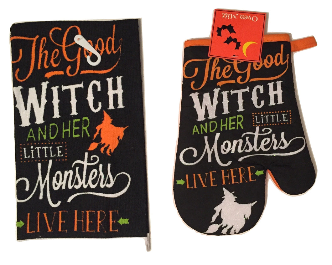 Halloween Good Witch Little Monsters 2 pc kitchen towel oven mitt set