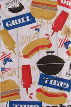 Elrene Amercian BBQ Vinyl Flannel Back Tablecloth 60 Round Barbecue
