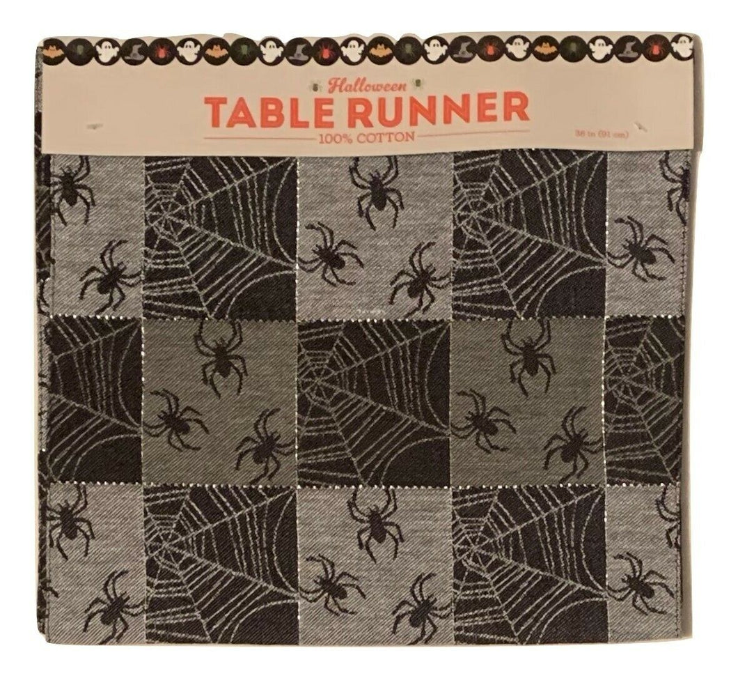 Halloween Table Runner Black Checkered Spider Web Fabric Jacquard