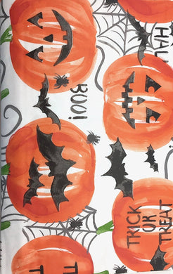 Halloween Jack O Lanterns Bats White Vinyl Flannel Back Tablecloth 52 x 70 Oblong