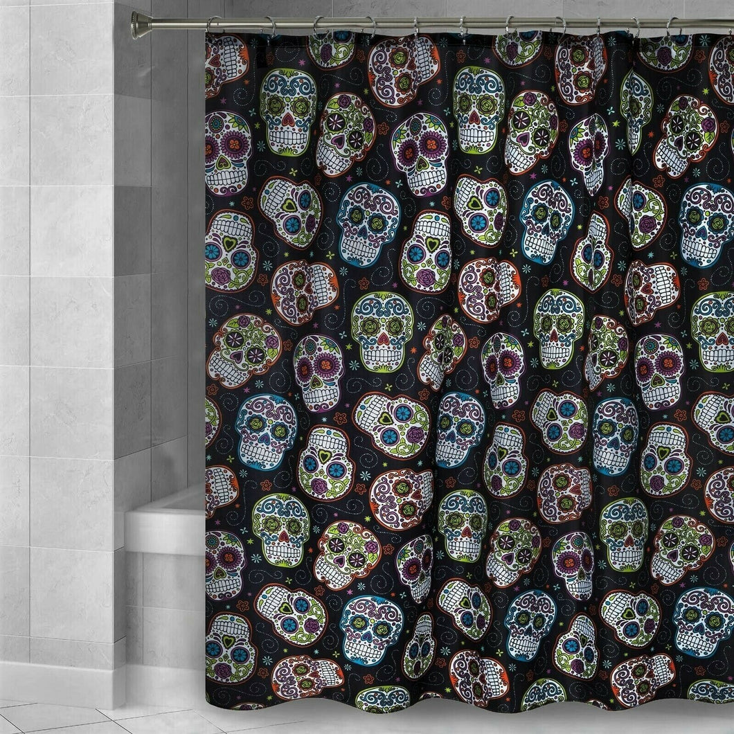 Halloween Fabric Shower Curtain Sugar Skulls Day of The Dead