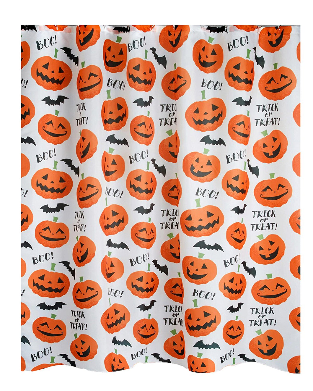 Halloween Shower Curtain Tossed Pumpkins with Flying Bats