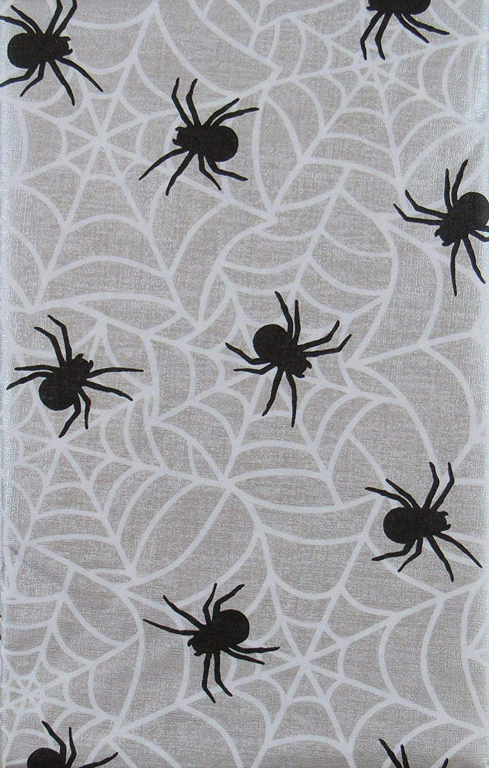 Halloween Spiders on Their Webs Vinyl Flannel Back Tablecloth Round or Oblong