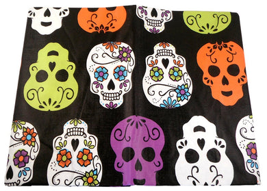 Halloween Sugar Skulls on Black Vinyl Flannel Back Tablecloth