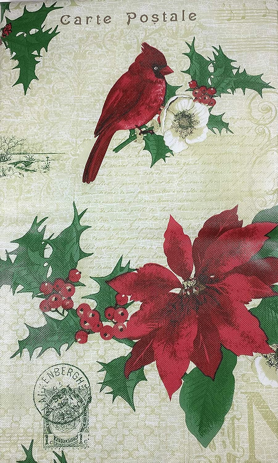 Christmas Vinyl Flannel Tablecloth 52 x 90 Oblong Elegant Cardinals Poinsettias