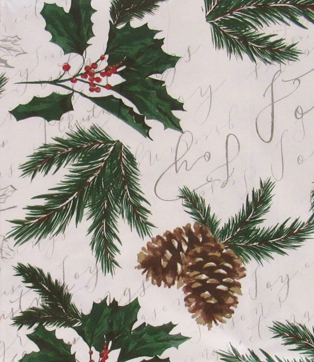 Christmas Vinyl Flannel Tablecloth 52 x 70 Oblong Pine Branches Pine Cones Holly