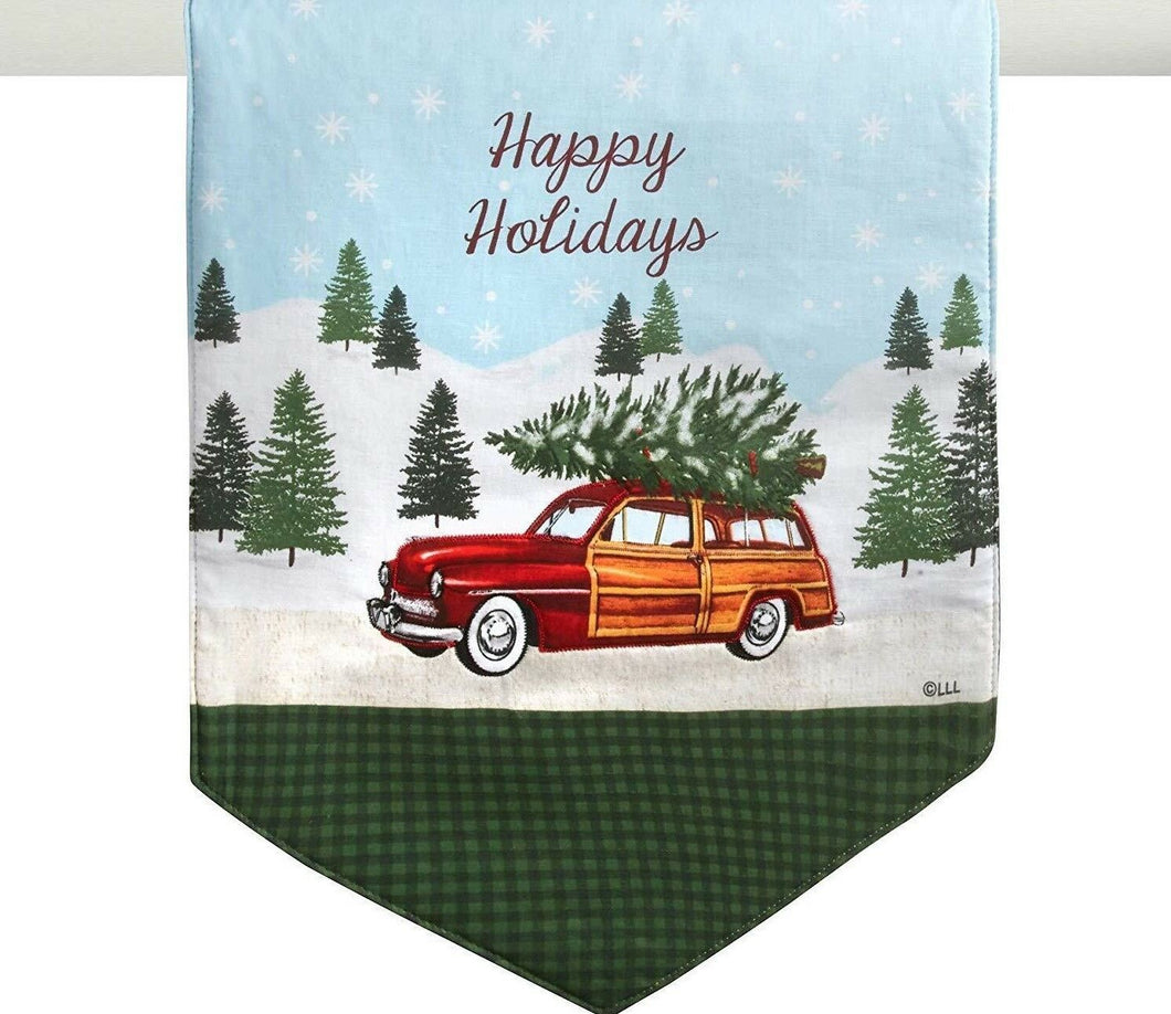 Happy Holidays Table Runner 13 x 36 Bringing Home The Christmas Tree