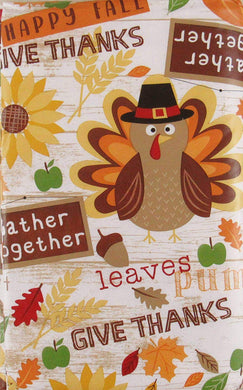 Happy Fall Thanksgiving Symbols Sentiments Vinyl Flannel Back Tablecloth 52 x 70