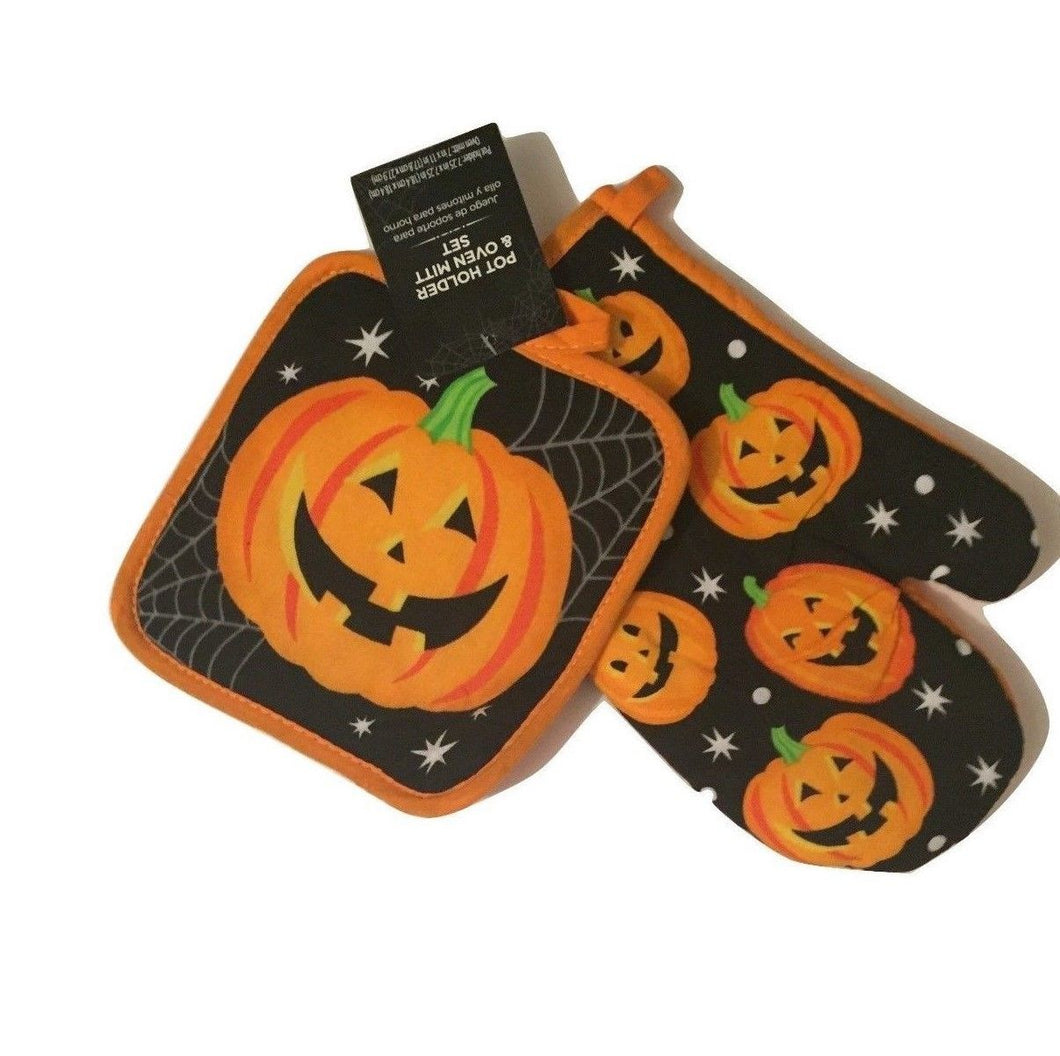 Happy Halloween Pumpkin Potholder Oven Mitt Set