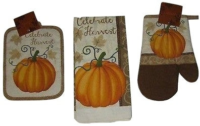 Celebrate Pumpkin Autumn Thanksgiving Kitchen Towel Oven Mitt Potholder 3 pc set