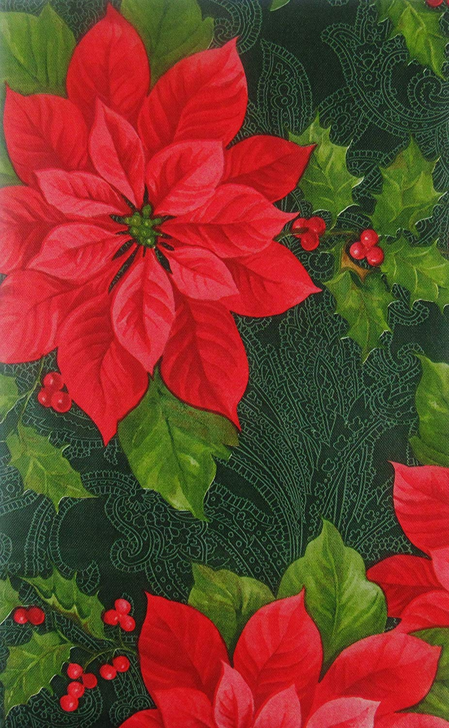 Christmas Vinyl Flannel Tablecloth Poinsettias Holly Green Various Sizes Elrene