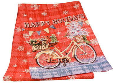 Christmas Table Runner Windham Happy Holidays Bike Bicycle 13 x 72