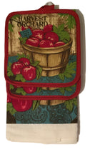 Harvest Apple Orchard Pick Your Own 4 pc kitchen towels potholders set