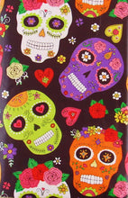 Halloween Sugar Skulls Hearts Flower Vinyl Flannel Back Tablecloth Various Sizes