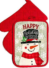 Christmas Kitchen Linen Set Towels Potholder Oven Mitt Holiday Wishes Snowman