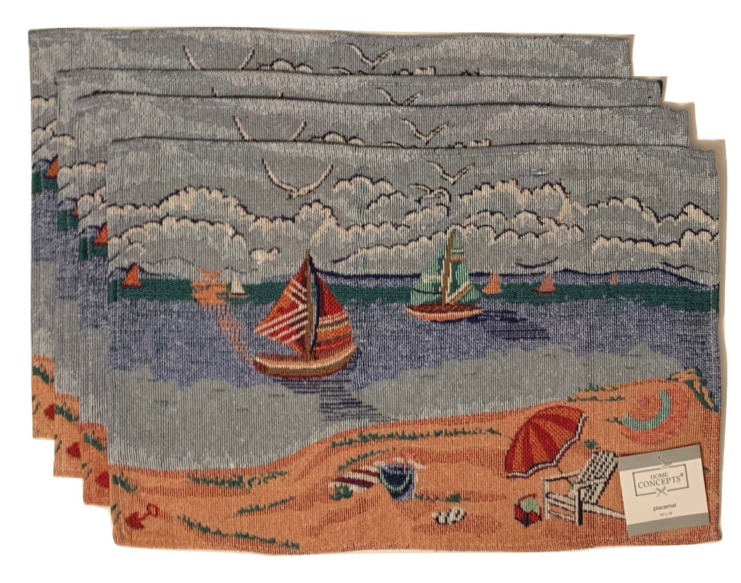 Coastal Tapestry Placemats Set of 4 Beach Scene Sailboats