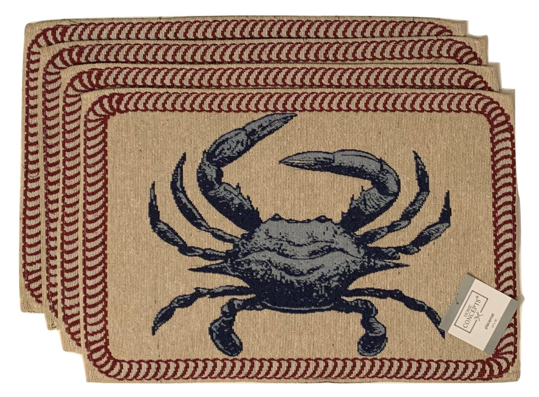 Tapestry Placemats Set of 4 Blue Crabs Coastal Nautical