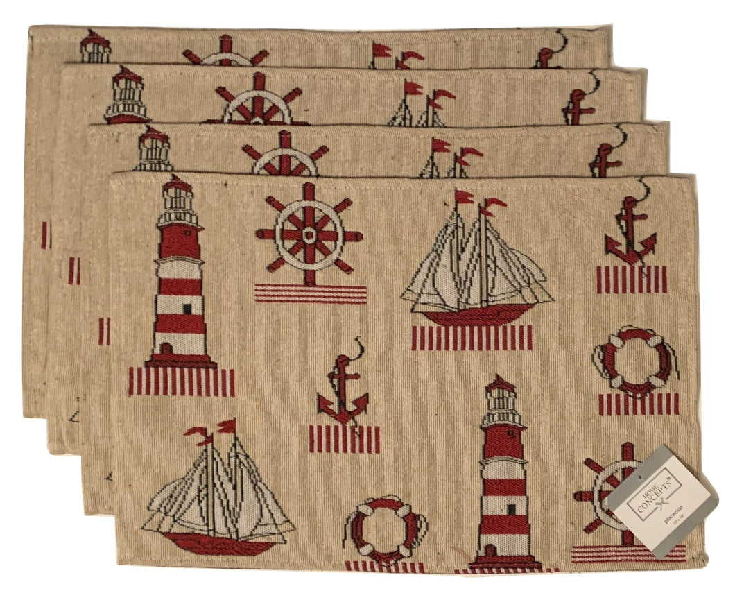 Tapestry Placemats Set of 4 Nautical Lighthouse Sailboats Anchors Red Beige