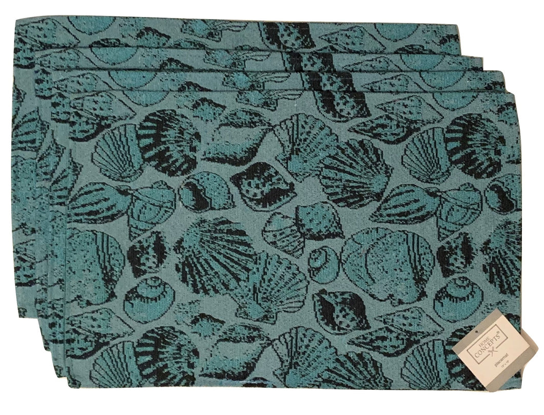 Tapestry Placemats Set of 4 Teal Seashells