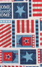 "Home Sweet Home USA Patriotic Patchwork Vinyl Flannel Back Tablecloth 60"" Round"
