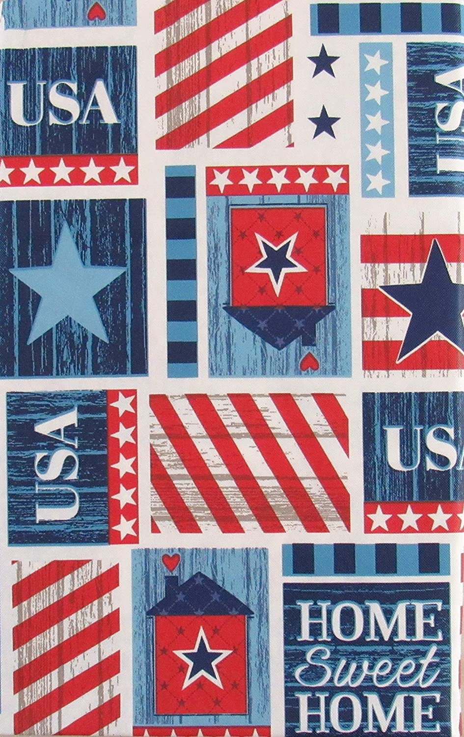 Home Sweet Home USA Patriotic Patchwork Vinyl Flannel Back Tablecloth 60