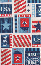 Home Sweet Home USA Patriotic Patchwork Vinyl Flannel Back Tablecloth 52 x 70 Oblong