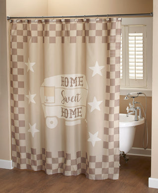 Home Sweet Rv Camper Shower Curtain and Hook 13 pc Set