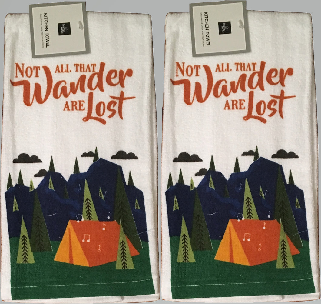 Kitchen Linen Set of 2 Towels Not All That Wander Are Lost Camping Tent Trees