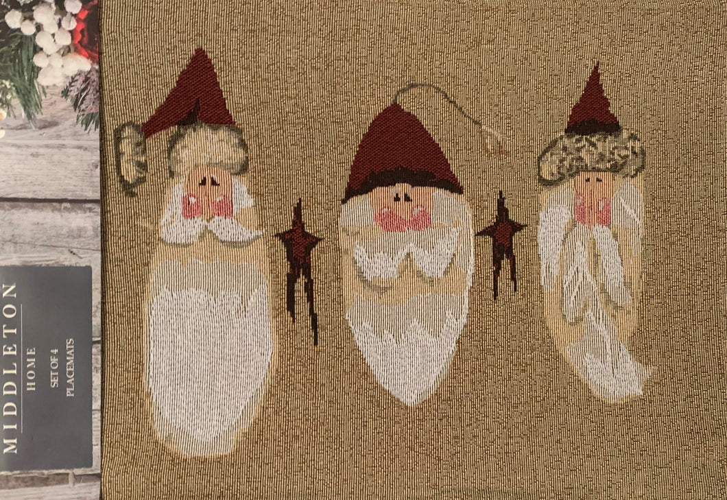 Christmas Tapestry Placemats Set of 4 Old World Santa