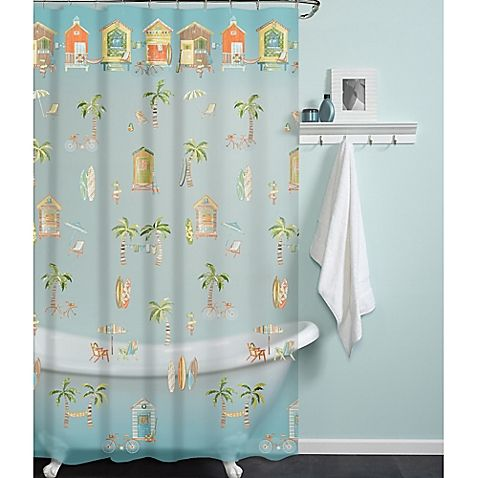 India Ink Cabana Beach Peva Shower Curtain