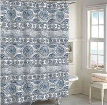 Indigo Blue Medallion Cotton Shower Curtain Boho Chic