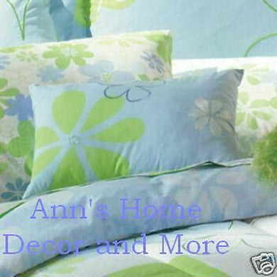 Floral Bloom Blue Lime Green Standard Pillow Sham
