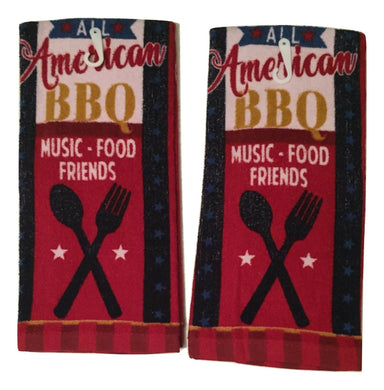 Kitchen Linen Set 2 Plush Towels All American BBQ Music Food Friends