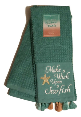 Kitchen Towel 2 pc Set Make A Wish Upon A Starfish Tassels Plush Beach Coastal