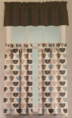 Homewear Kitchen Medley 3 Piece Coffee Cups Kitchen Tier and Valance Set