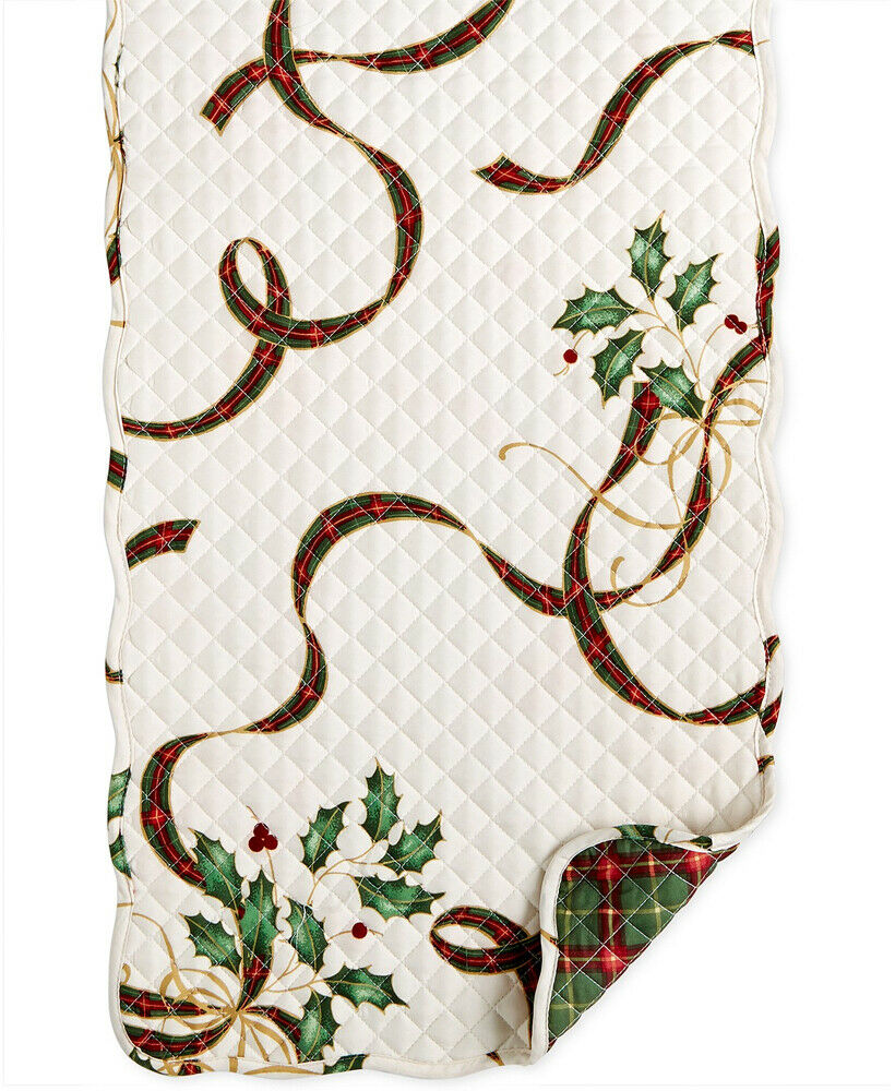 Lenox Christmas Table Runner Quilted Holiday Nouveau Design Reversible 14 x 36
