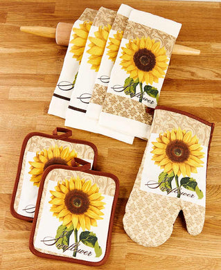 Country Sunflowers Kitchen Linen Set Towels Oven Mitt Potholders Dishcloths