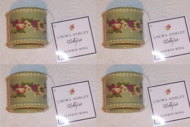 Laura Ashley Green Ceramic Floral Set of 4 Napkin Rings Holders