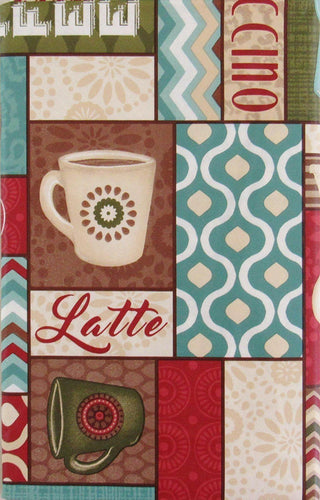 Latte Mocha Coffee Espresso Java vinyl flannel back tablecloth Red Brown Various Sizes
