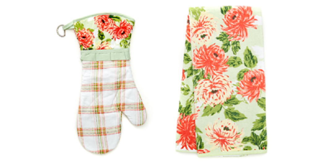 La Multi Blooms Velour Kitchen Towel and Oven Mitt