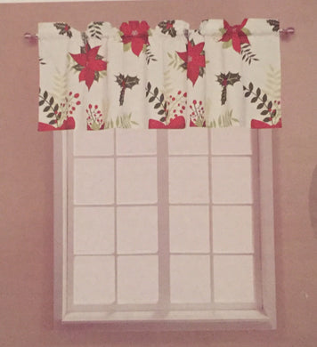 Laurel Park Christmas Poinsettia Valance